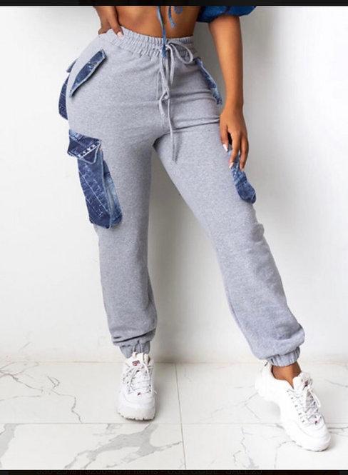 Street Pocket Patched Light Grey Pants