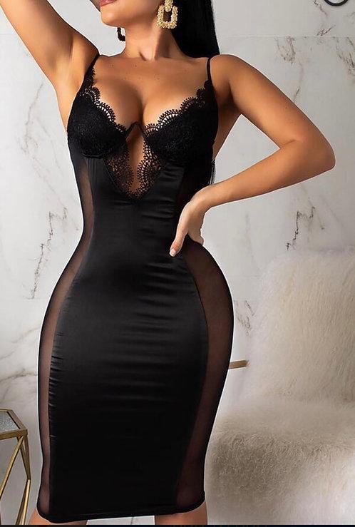 Sexy V Neck Mesh Patchwork Black Knee Length Dress