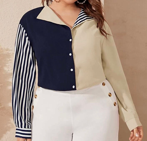 Drop Shoulders Colorblock Striped Sleeve Blouse