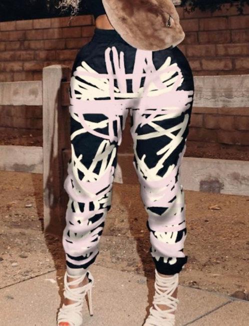 Street Print Black Plus Size Pants