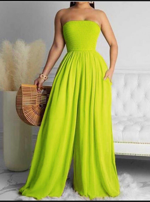 Boho Off The Shoulder Ruched Bust Green Plus Size One-piece Jumpsuit