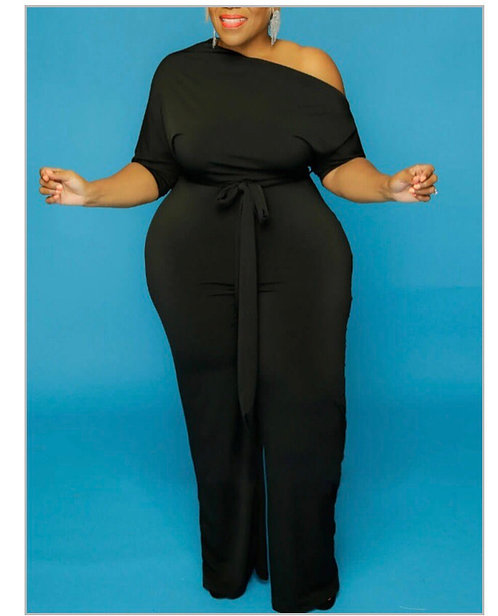 Casual Drawstring Black Plus Size One-piece Jumpsuit