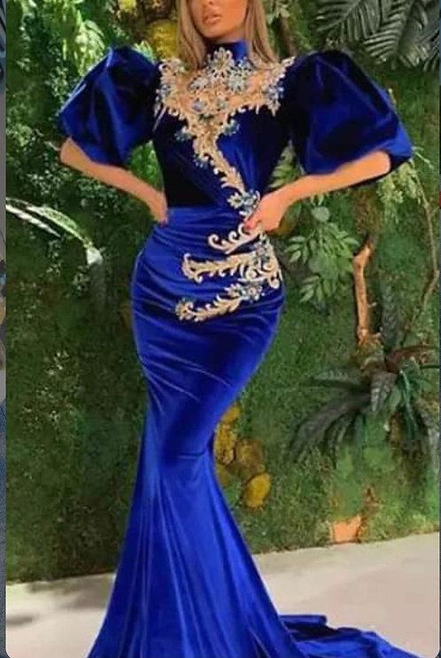 Velvet Mermaid Prom Gown Blue Celebrity Party Dress