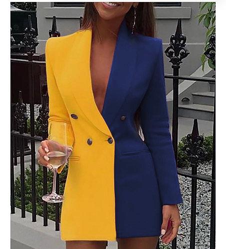 Colorblock Patchwork Long Sleeve Blazer