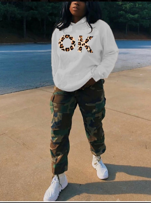 Casual Letter Leopard Print White Hoodie