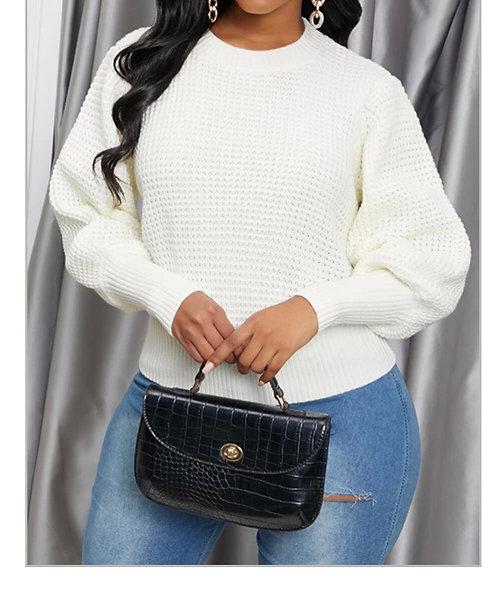 O Neck White Sweater