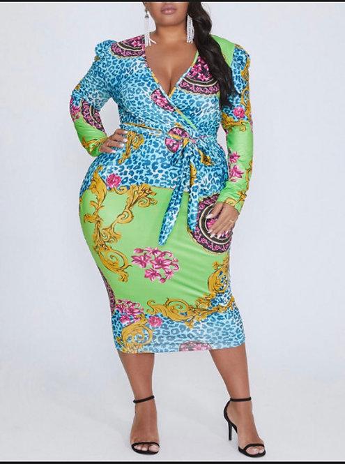 Deep V Neck Print Green Knee Length Plus Size Dress