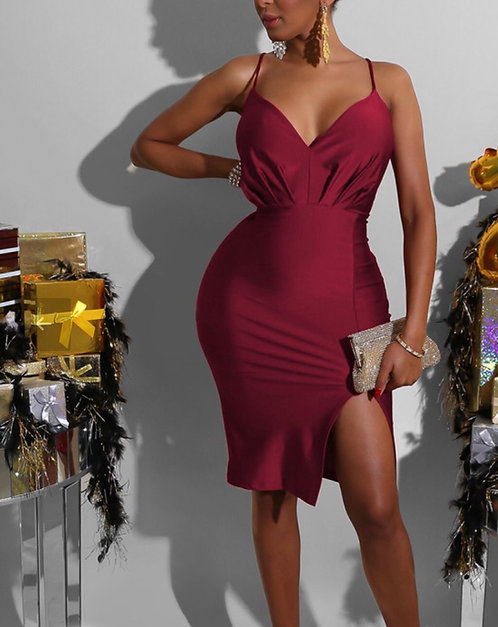 Red V Neck Slip Slit Dress