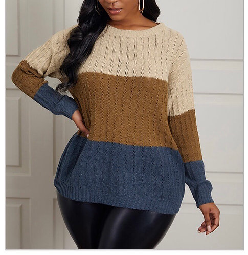 Casual O Neck Color-lump Stitching Light Tan Sweater