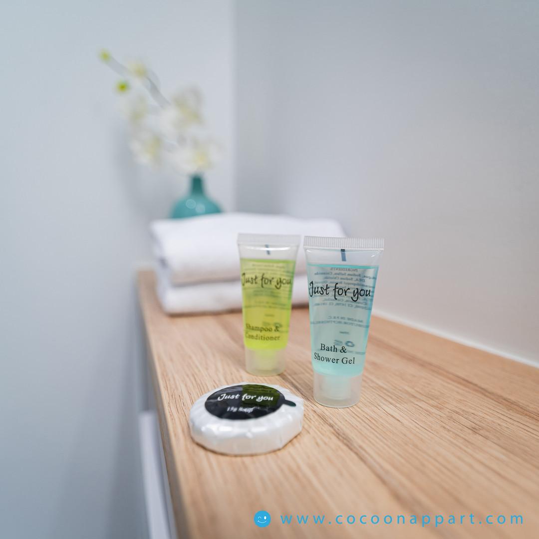 Kit shampoing, gel douche, savonnette