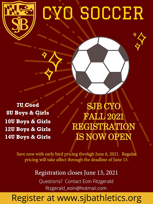 SJB Soccer - Fall 2021 Registration Flye