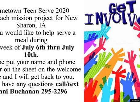 Hometown Teen Serve 2020Outreach mission project for New Sharon, IA