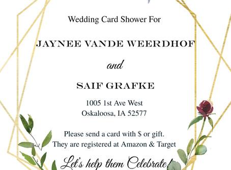 Wedding Card Shower for Jaynee Vande Weerdhof & Saif Grafke