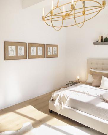 Drawings in a bedroom