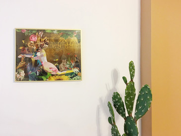 """Collage """"Jungle Woman"""" in lounge room"""