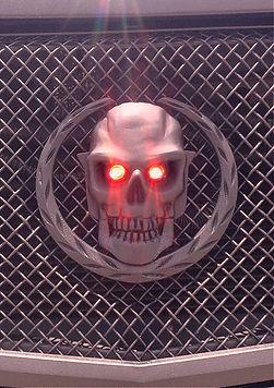 Skull Tail Light Installed on Cadallac Grill