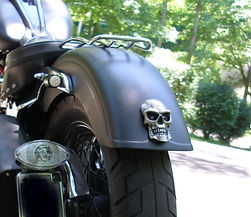 Silver Skull Brake and Tail Light Installed on a Harley Davidson Fat Boy