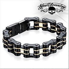 Black-Gold Motorcycle Chain Bracelet.JPG