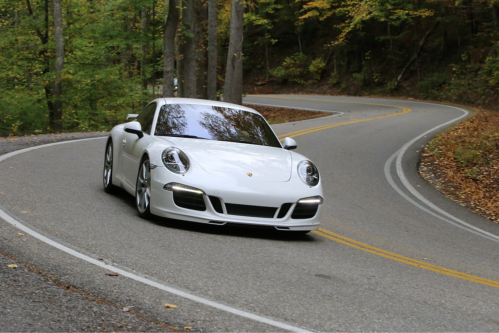 """Custom """"Brumos Porsche"""" heading out of a tight """"S"""" turn at 70 mph"""