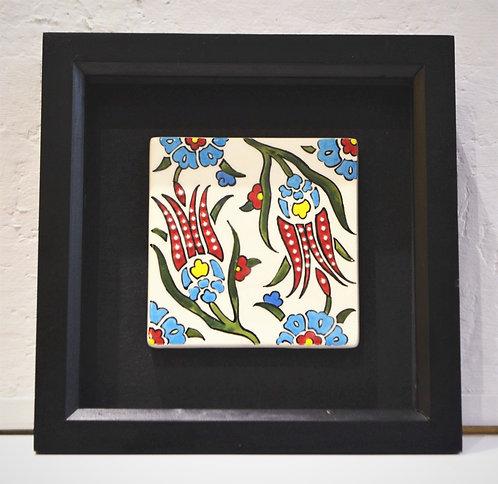 Framed Red Tulip Ceramic Tile