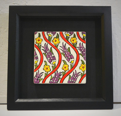 Framed Red Wave Ceramic Tile