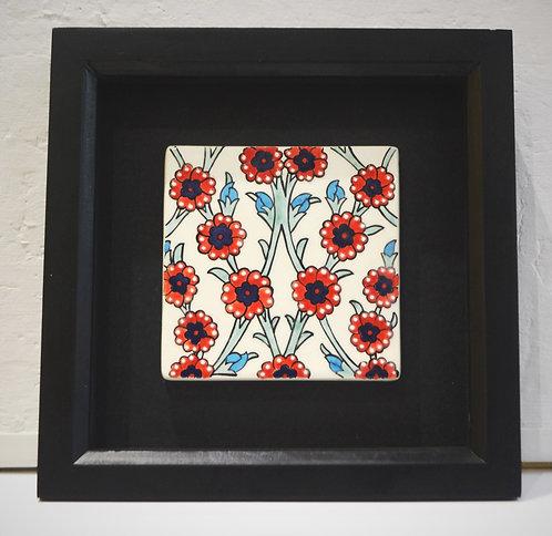Framed Red Flowers Ceramic Tile