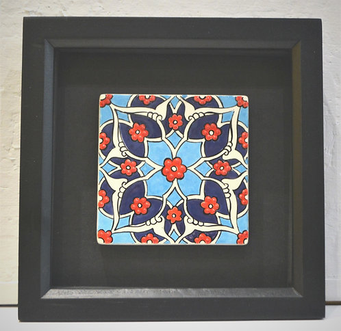 Framed Blue Ceramic Tile