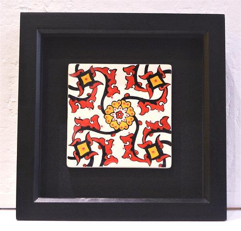 Framed Red Flame Ceramic Tile