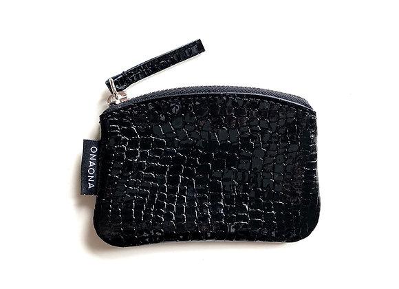 Etui S černá lesk lizard - zip stříbrná