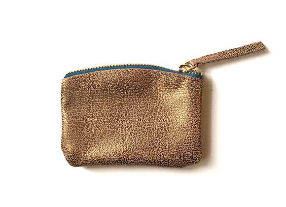 Etui S zlatá - tyrkysový zip pozlacený - mini peněženka