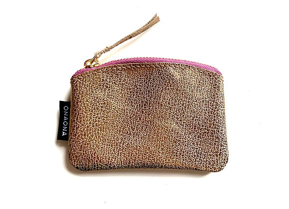 Etui S zlatá - růžový zip pozlacený - mini peněženka