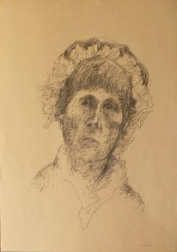 Autoritratto con la cuffia 2006. Disegno a sanguigna 50x35