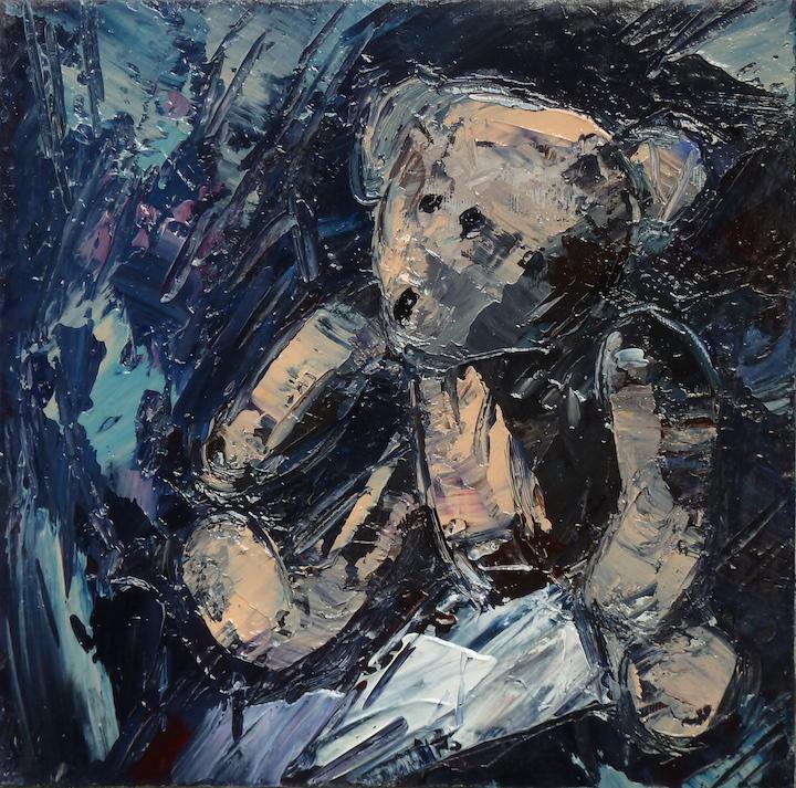 Teddy Bear n. 30. Acrilico su tela 2017, 30x30