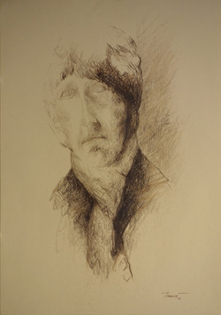 Autoritratto con la sciarpa 1, 2006. Sanguigna su carta giallina 50x35