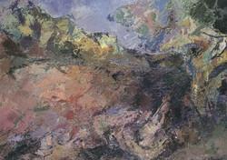 Tronchi morti con cespuglio a Ticino, 1994. Acrilico su tela 70x100