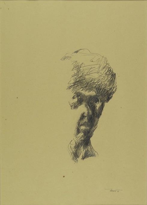 Autoritratto alla maniera di Goya, 1991. Disegno a matita su carta giallina 50x35
