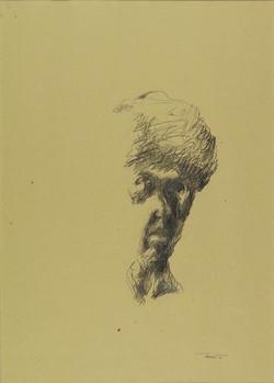 Autoritratto alla maniera di Goya 1991. Disegno a matita su carta giallina 50x35