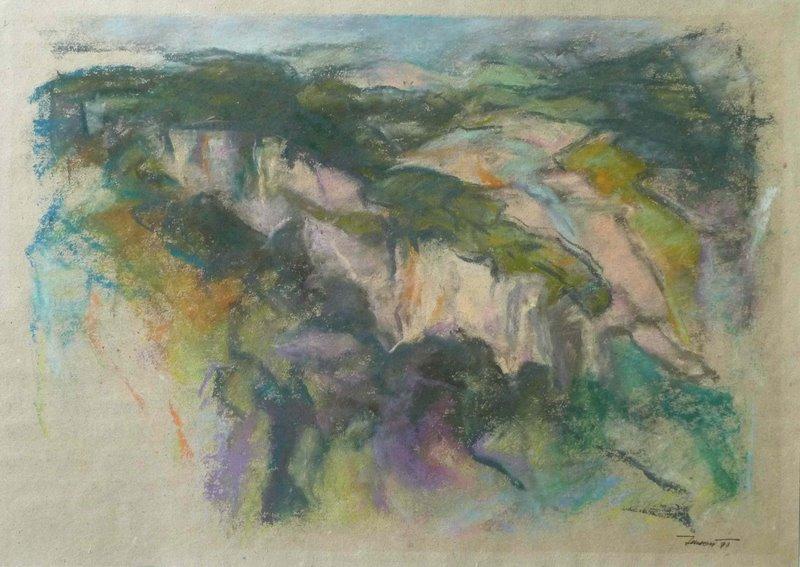 Calanchi in Val Schizzola 1997. Pastello su carta 29,7x42