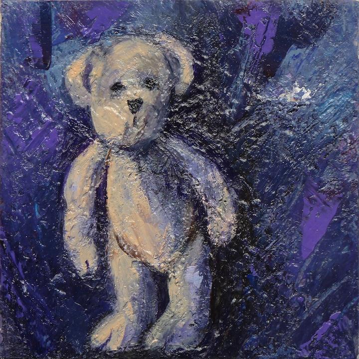 Teddy Bear n. 33. Acrilico su tela 2017, 30x30