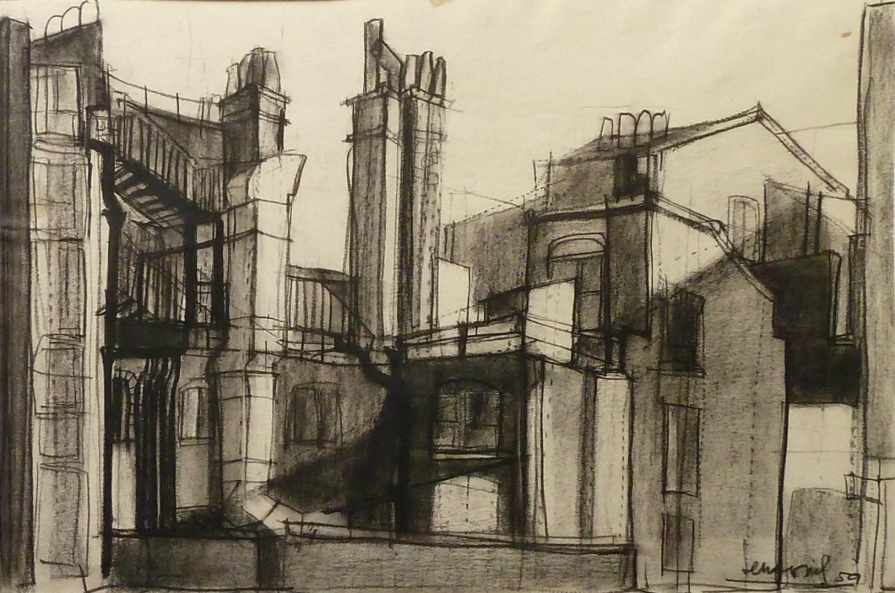 Suburbio d Londra 1959. Disegno Conté 35x50