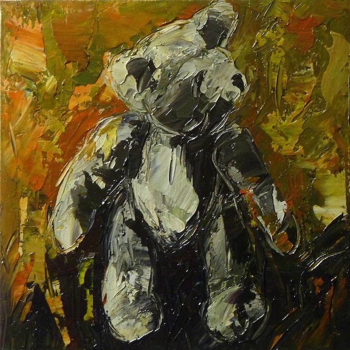 Teddy Bear n. 14. Acrilico su tela 2016, 30x30