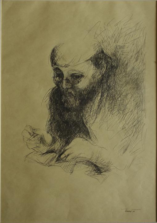 Attore 3 1999. Disegno a matita su carta giallina 70x50
