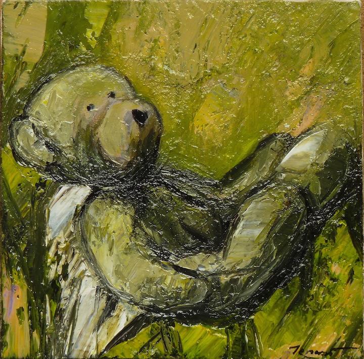 Teddy Bear n. 37. Acrilico su tela 2017, 30x30