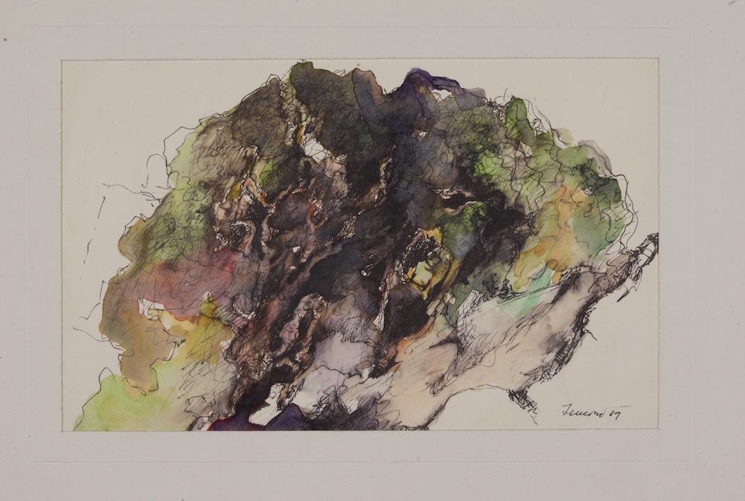 Bosco, sotto il Volterraio 1989. Acquarello e china 12x20