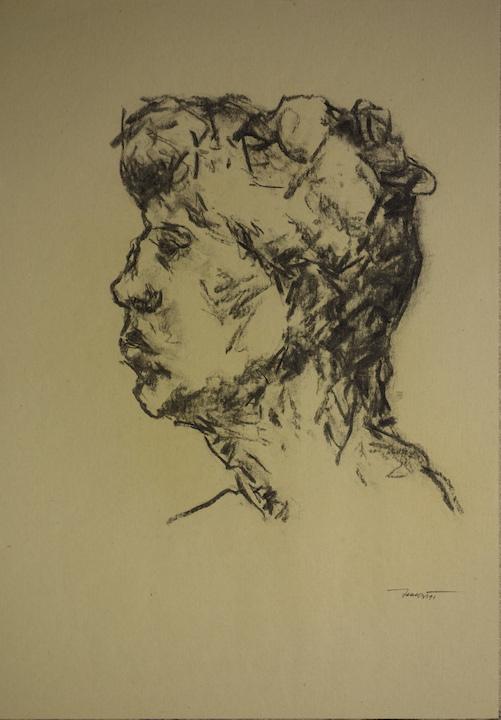 Autoritratto di profilo, 1991. Carbone su carta giallina 50x35