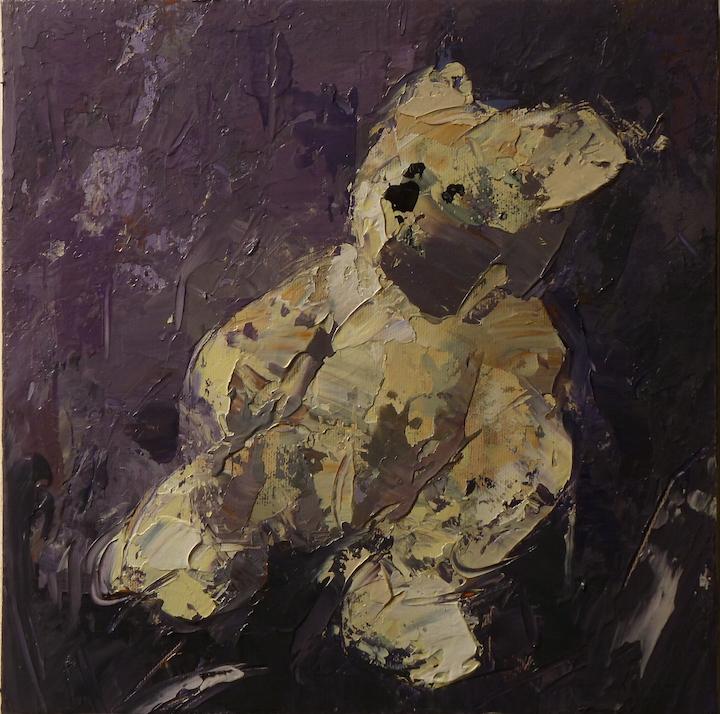 Teddy bear n. 6. Acrilico su tela 2016, 30x30