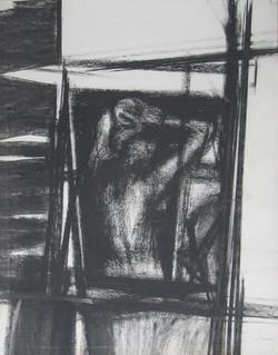 Nudo alla finestra II 1966. Disegno a Conté
