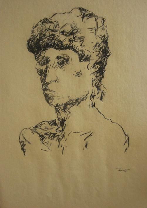 Autoritratto, 1991. Disegno a carbone 50x35
