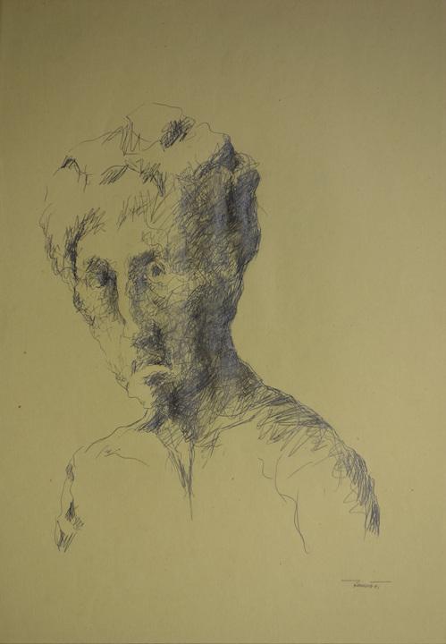 Autoritratto un po' inclinato, 1991. Matita su carta giallina 50x35