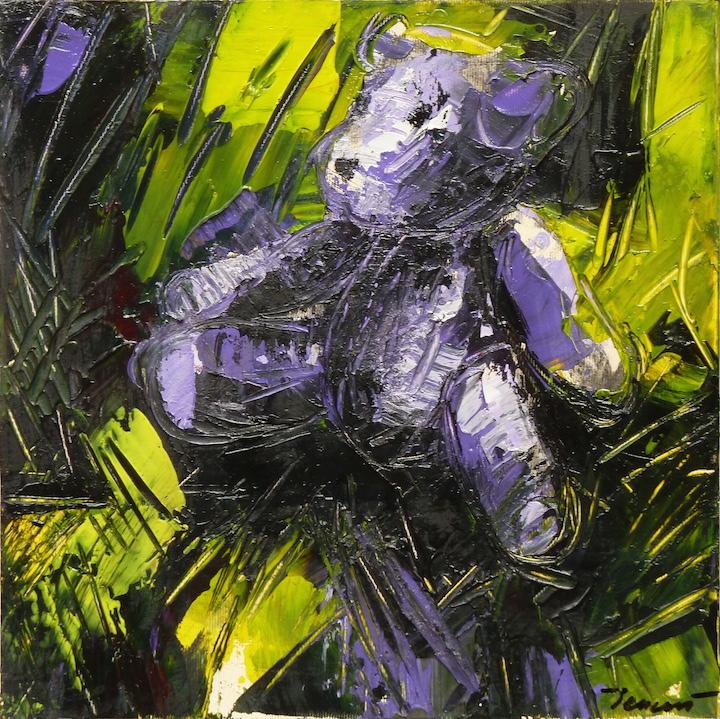 Teddy Bear n. 32. Acrilico su tela 2017, 30x30